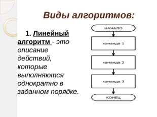 Виды алгоритмов: 1. Линейный алгоритм - это описание действий, которые выпол