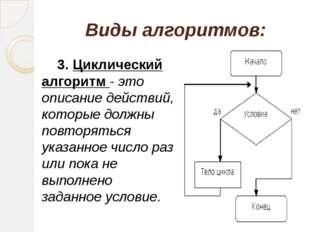 Виды алгоритмов: 3. Циклический алгоритм - это описание действий, которые до