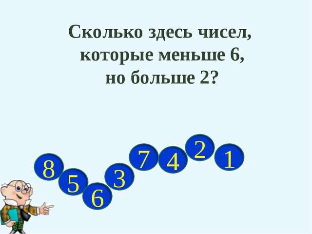 Сколько здесь чисел, которые меньше 6, но больше 2?
