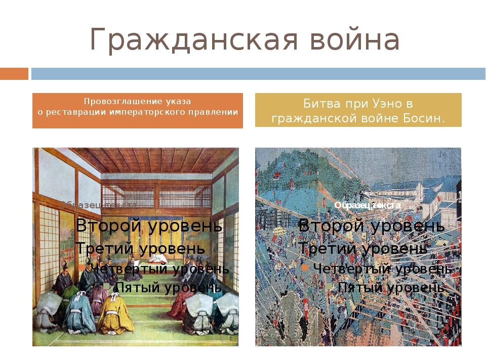 Гражданская война Провозглашениеуказа о реставрации императорского правлении...