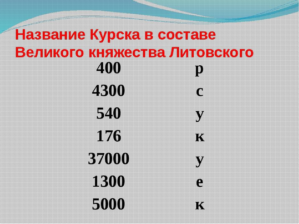 Название Курска в составе Великого княжества Литовского 400 р 4300 с 540 у 17...
