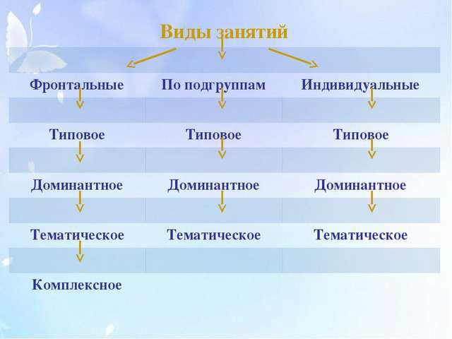 Виды занятий Фронтальные По подгруппам Индивидуальные Типовое Типовое Типово...
