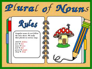 Irregular nouns do not follow the rules above. We make their plurals in vario