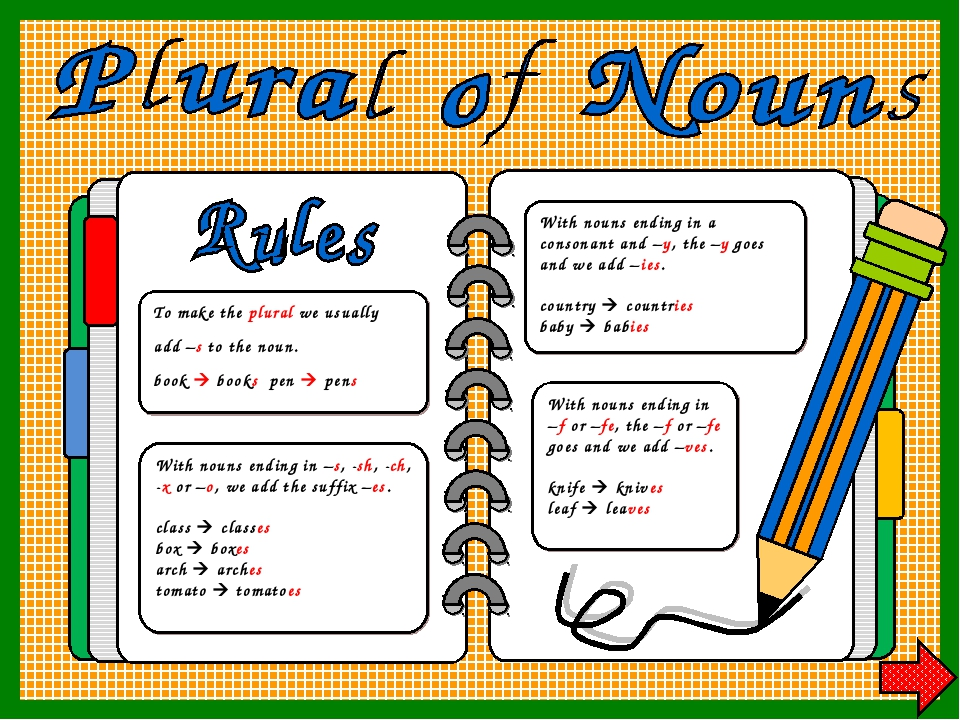 To make the plural we usually add –s to the noun. book  books pen  pens Wit...