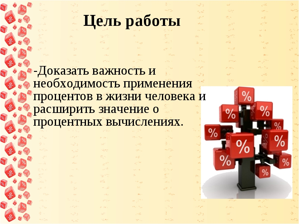 Цель работы -Доказать важность и необходимость применения процентов в жизни...