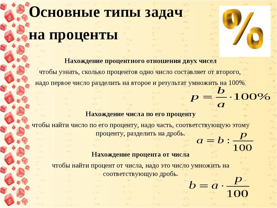 Основные типы задач на проценты Нахождение процентного отношения двух чисел...