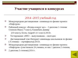 Участие учащихся в конкурсах 2014 -2015 учебный год Международная дистанционн