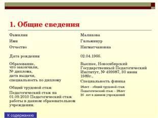 1. Общие сведения К содержанию Фамилия Имя Отчество Маликова Гильминур Нигм