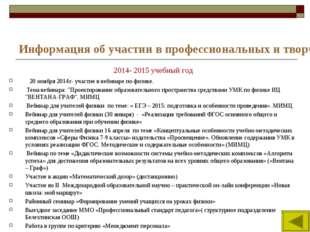 Информация об участии в профессиональных и творческих педагогических конкурса