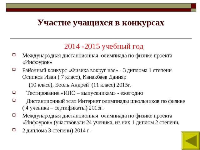Участие учащихся в конкурсах 2014 -2015 учебный год Международная дистанционн...