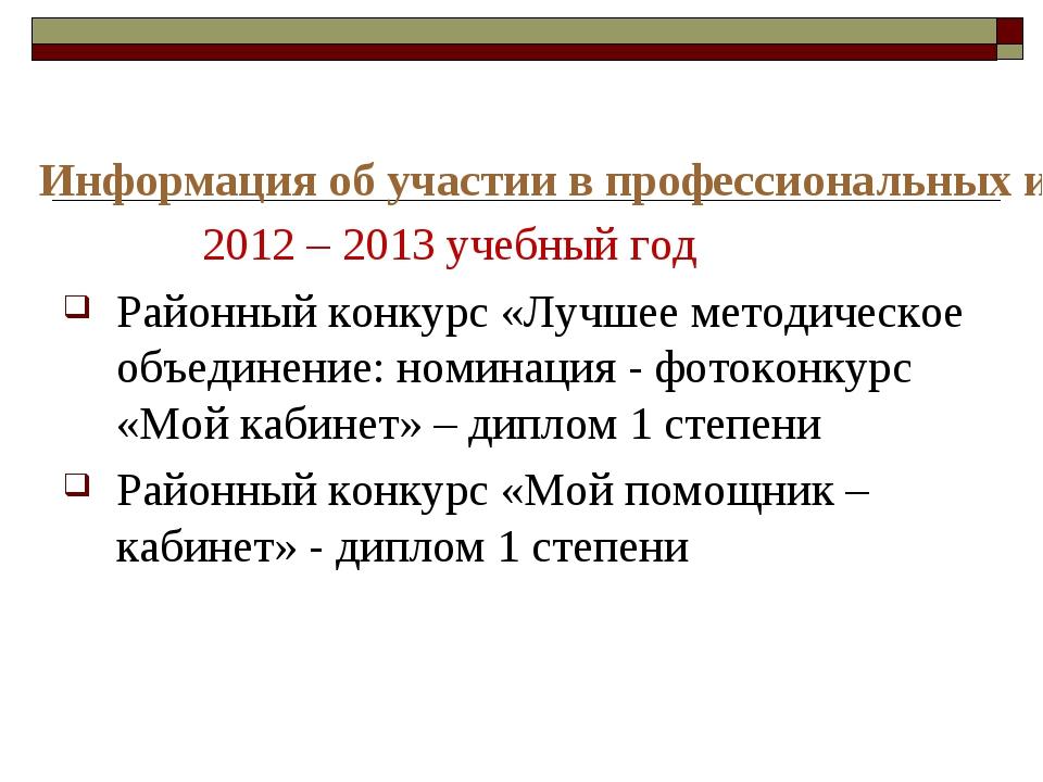 Информация об участии в профессиональных и творческих педагогических конкурса...