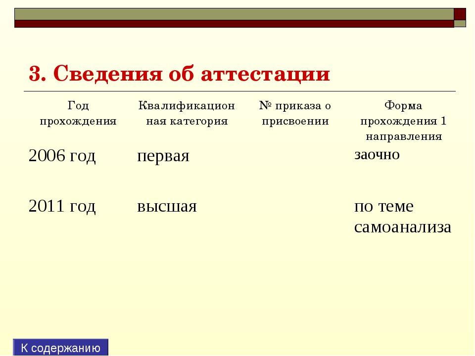 3. Сведения об аттестации К содержанию Год прохожденияКвалификационная катег...