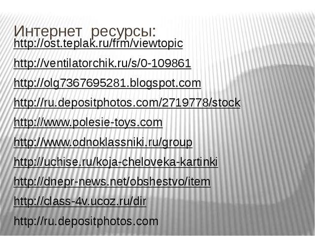 Интернет ресурсы: http://ost.teplak.ru/frm/viewtopic http://ventilatorchik.ru...