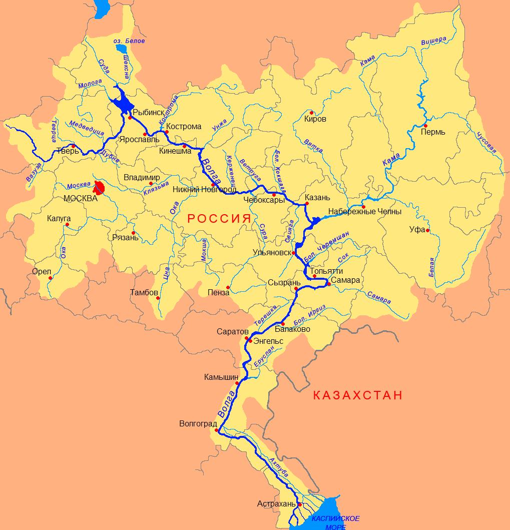 фото. Карта Волги. Река Волга. Бассейн реки Волги