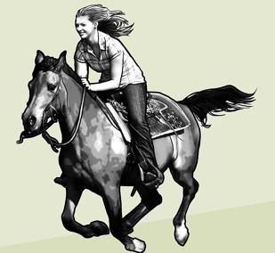 Девочка скачет верхом на лошади