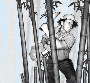 Молодой человек пробирается сквозь джунгли