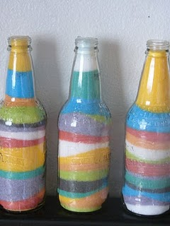 декорирование бутылки солью