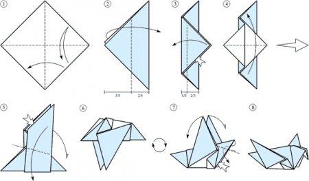 Простая оригами схема: голубь мира