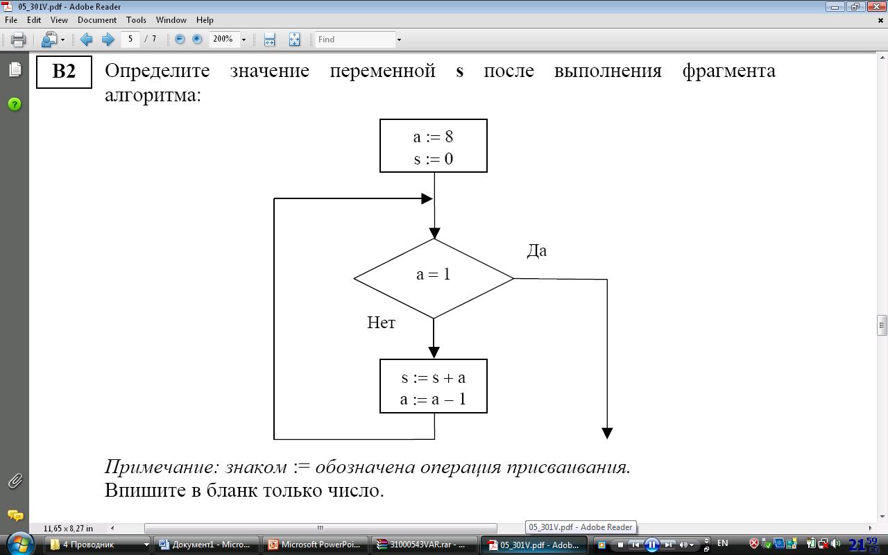 После выполнения фрагмента алгоритма, записанного в виде блок-схемы пределите значение переменной с s о