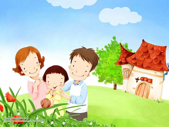 Lovely_illustration_of_Parents_daughter_watching_snail_on_leaf_wallcoo_com.jpg