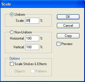Диалоговое окно Scale