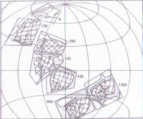 Схема дрейфа Восточно-Европейского континента. За 1300 миллонов лет континент прошел путь длиной тысячи километров.