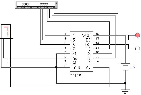 Схема включения ИМС 74148