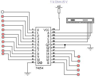 дешифратор 4х16 на К155ИД3