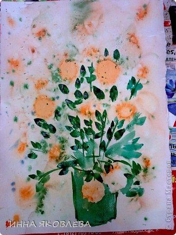 Картина панно рисунок Мастер-класс 8 марта Валентинов день День учителя Печать губкой Рисование и живопись Для тех кто совсем НЕ УМЕЕТ рисовать Два варианта Акварель Бумага фото 21