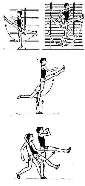 маховое движение свободной ногой