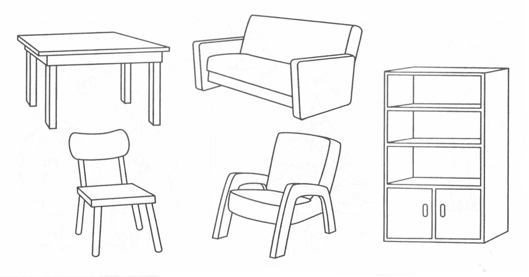 Картинки мебели раскраска для детей детского сада