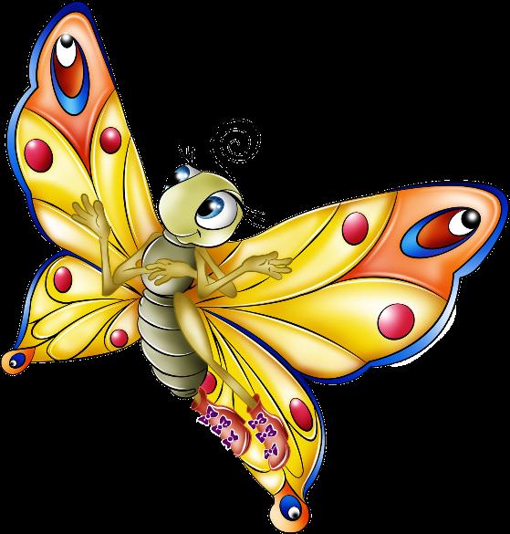 Яркие сказочные бабочки для детский коллажей - клипарт PNG