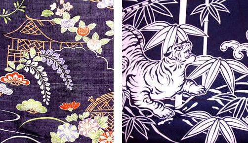 Фрагменты японских кимоно, расписанных в технике суримон и цуцугаки
