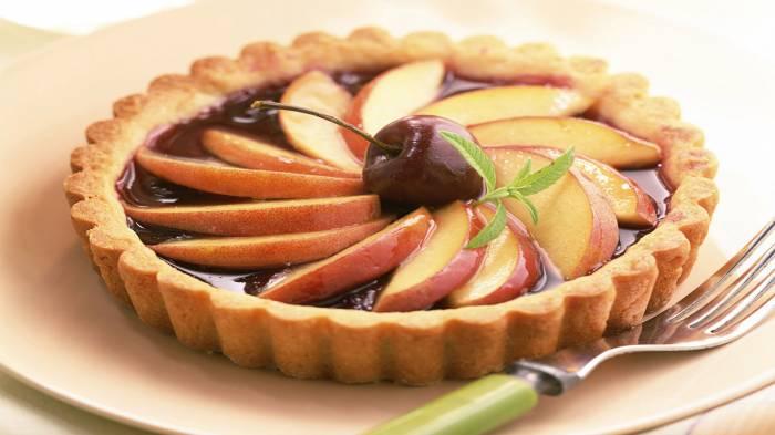 Широкоформатные обои Яблочный пирог, Пирог с яблоками и вишней