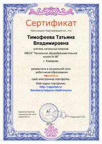 Сертификат о размещении портфолио