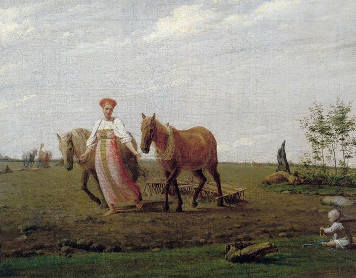 Венецианов картина На пашне. Весна