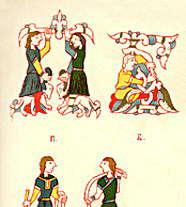 Фигурные инициалы из Евангелия и Псалтыри (14 в