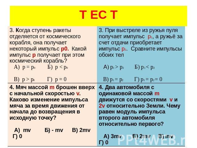 гдз по физике 10 класс тест8 закон сохранения импульса